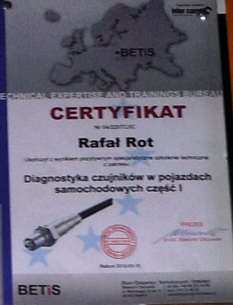 Certyfikat Diagnostyka czujników