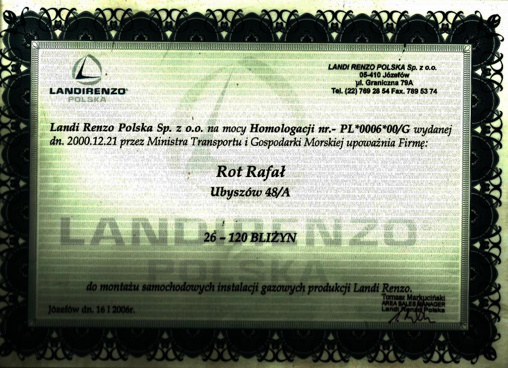 Upoważnienie Landi Renzo Polska - homologacja PL*0006*00/G