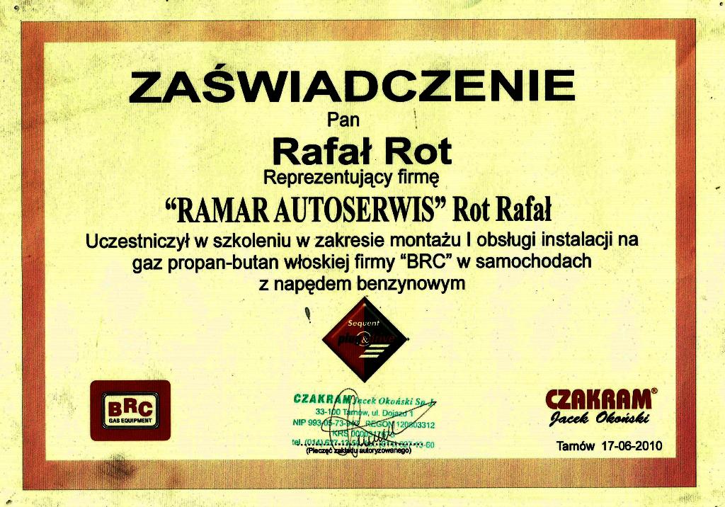 Certyfikat CZAKRAM - Rafał Rot