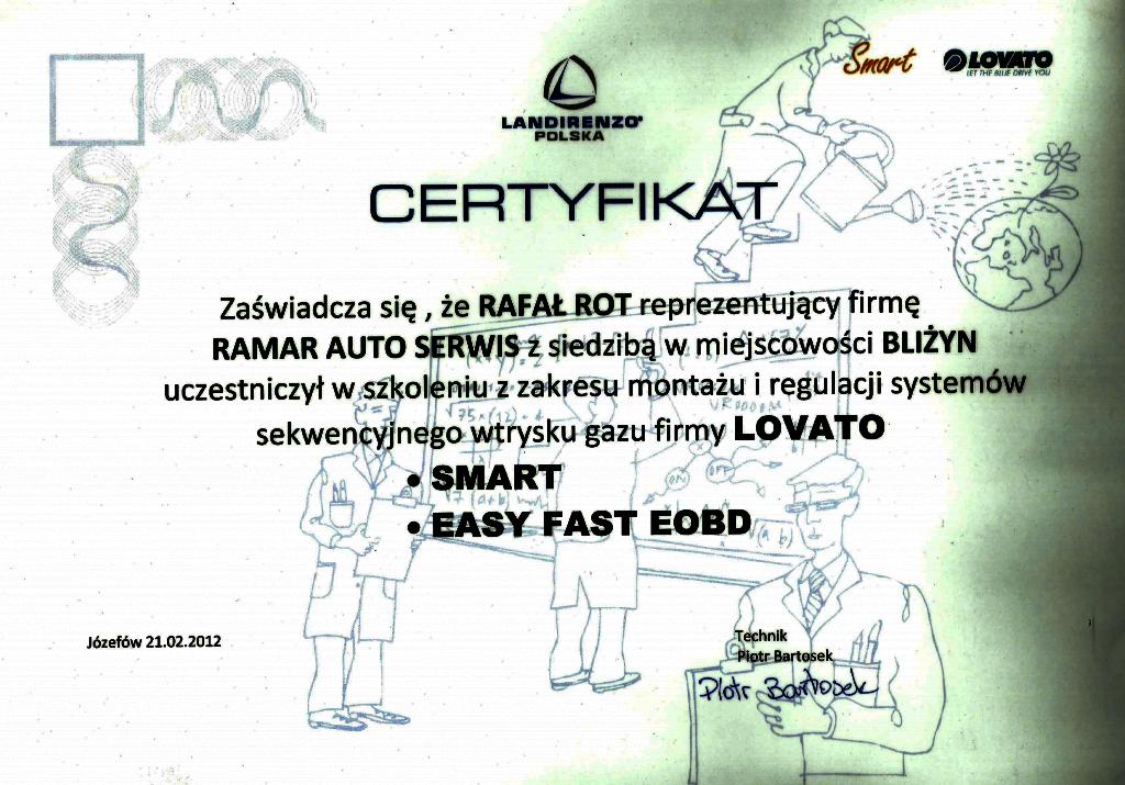 Certyfikat LOVATO SMART, LOVATO EASY FAST OBD