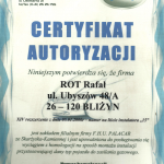 Certyfikat autoryzacji F.H.U PALACAR Homologacja PL*0037*00/G