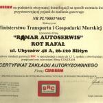 Certyfikat upoważniający do montażu instalacji gazowych BRC