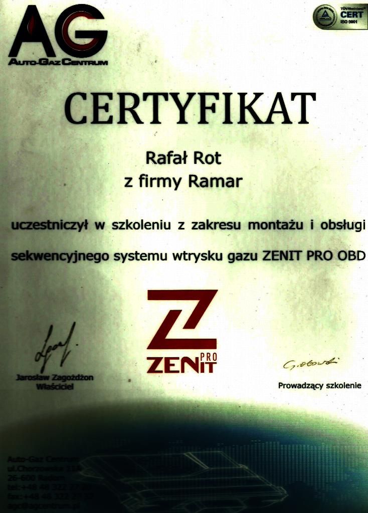 Certyfikat ZENIT PRO OBD
